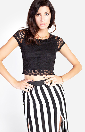 Scalloped Lace Crop Top Slide 1