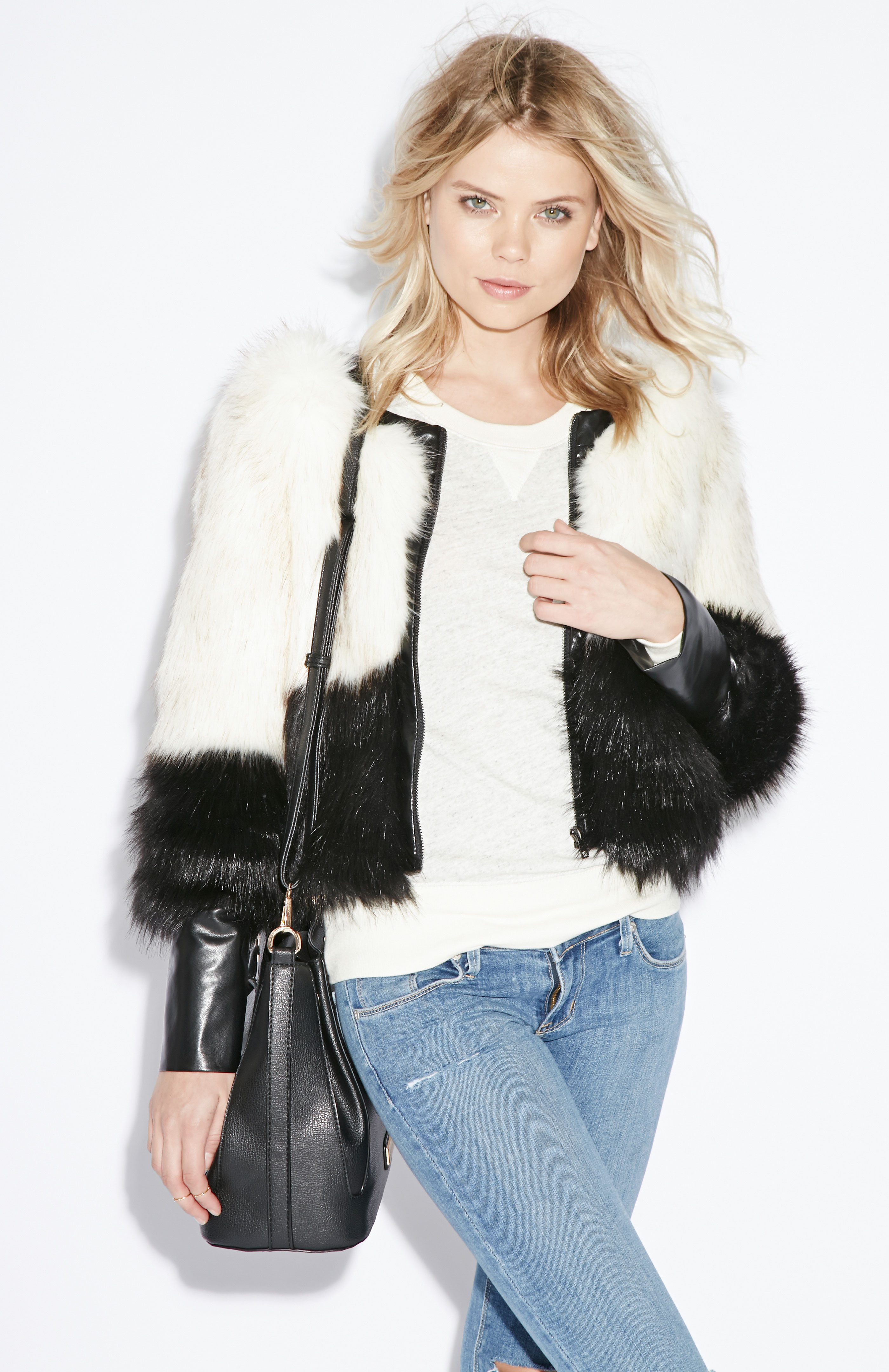 Line Amp Dot Scarlett Faux Fur Jacket In Black White Dailylook