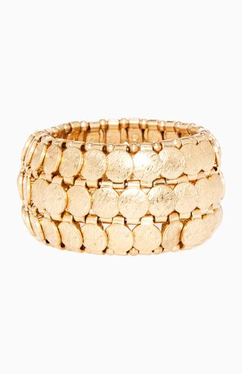Gold Coin Stretch Bracelet Slide 1
