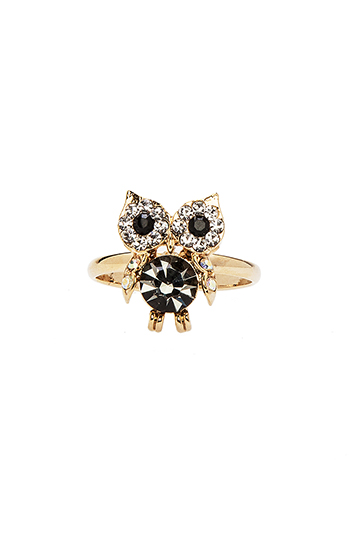 Crystal Owl Ring Slide 1