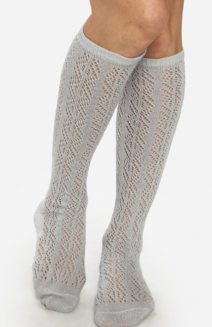 Knitting Pattern Knee High Socks : Knitted Knee High Socks in Gray DAILYLOOK