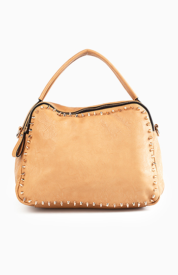 18a009c7561105 Studded Border Tote Bag in Camel | DAILYLOOK