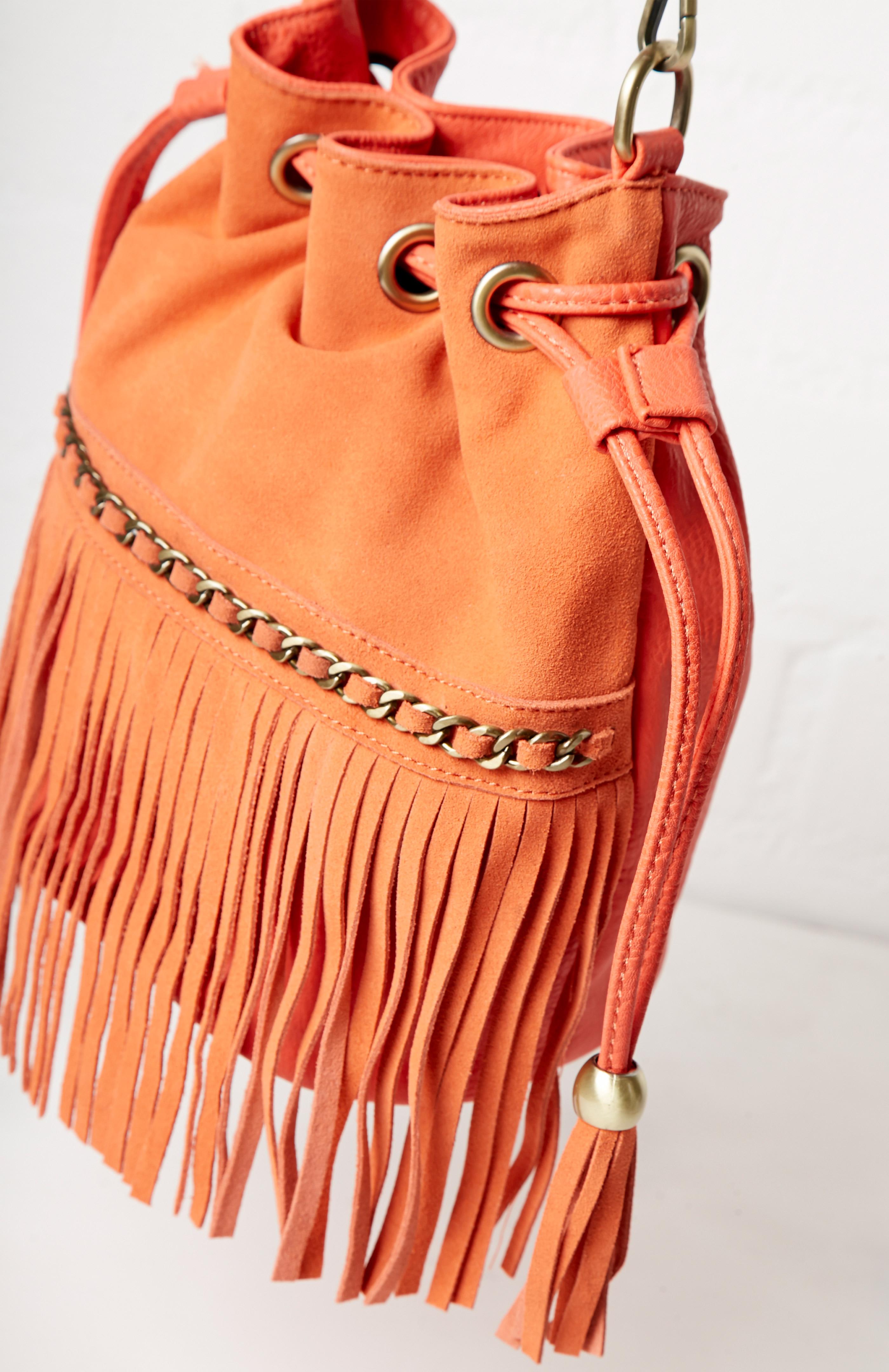 American Rag Faux-Suede Bucket Bag Glazed Ginger