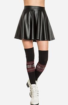 Simple Leatherette Circle Skirt Slide 1