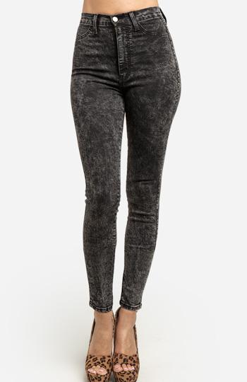 High Waist Acid Wash Jeans Slide 1