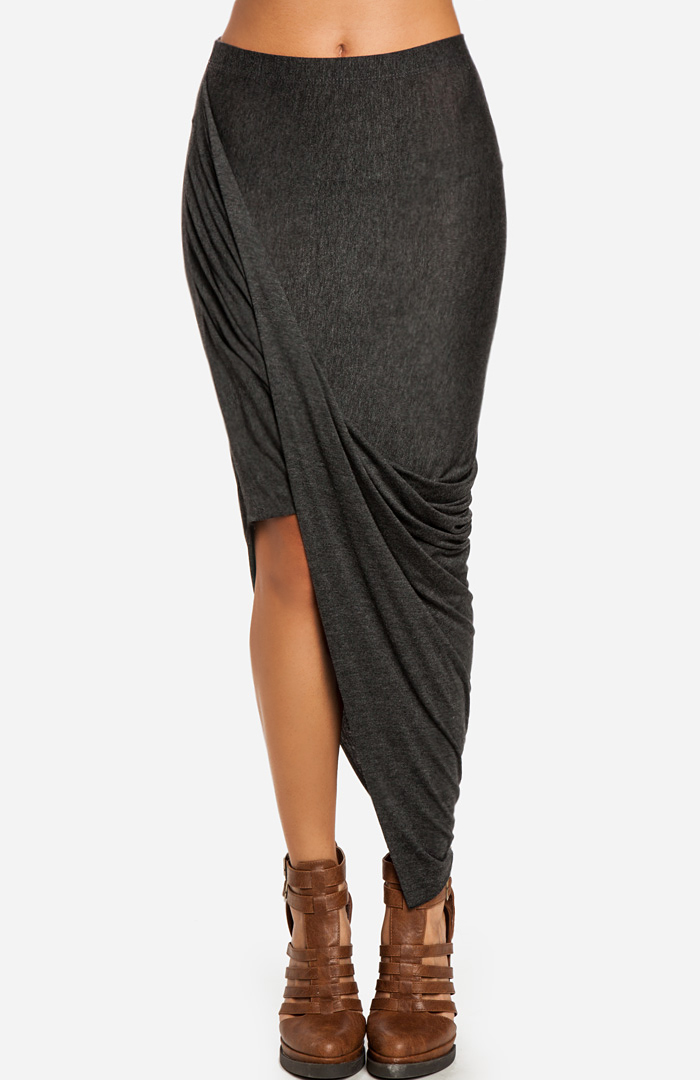 twisted high low skirt in charcoal s dailylook