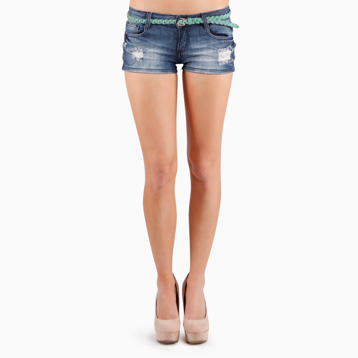 Distressed Mini Denim Shorts by Machine Jeans