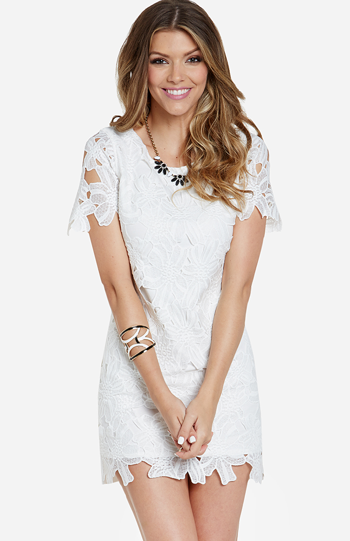 Joa flower lace dress in white dailylook mightylinksfo