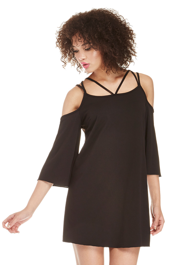 Dailylook Bare Shoulder Tunic Dress In Black Dailylook