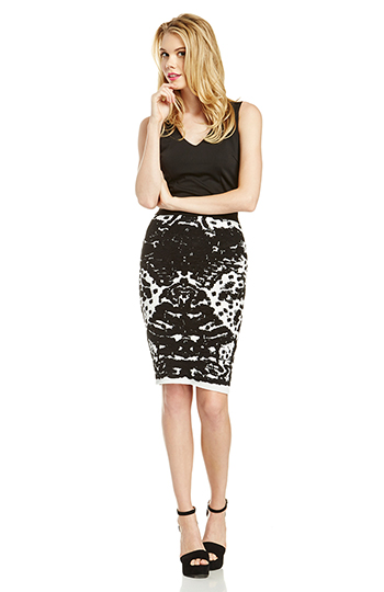Lucy Paris Mirror Image Knitted Pencil Skirt Slide 1