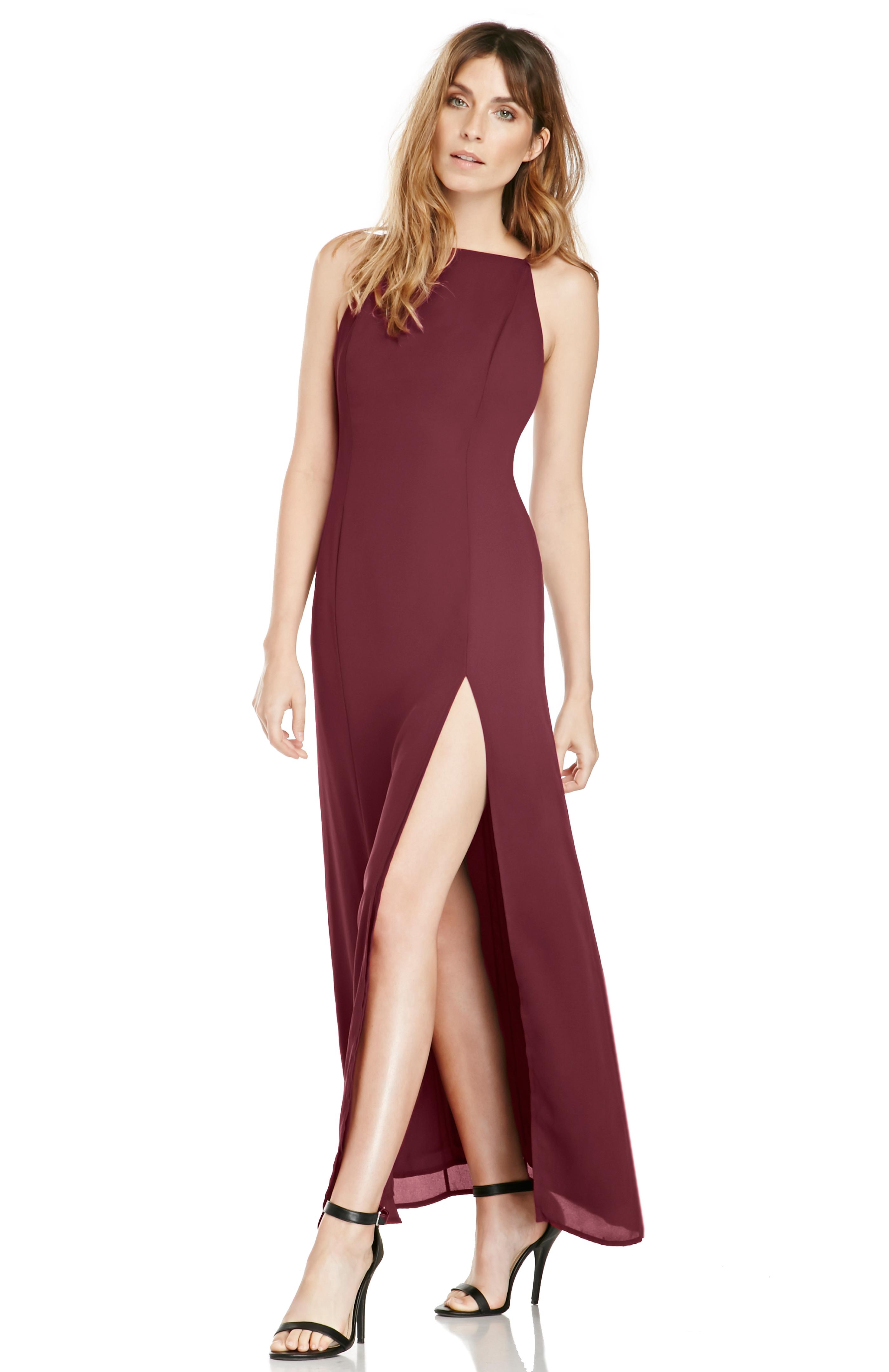 June & Hudson 90's Basic Maxi Dress In Burgundy