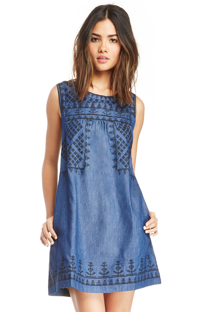 Sleeveless embroidered chambray shift dress in blue