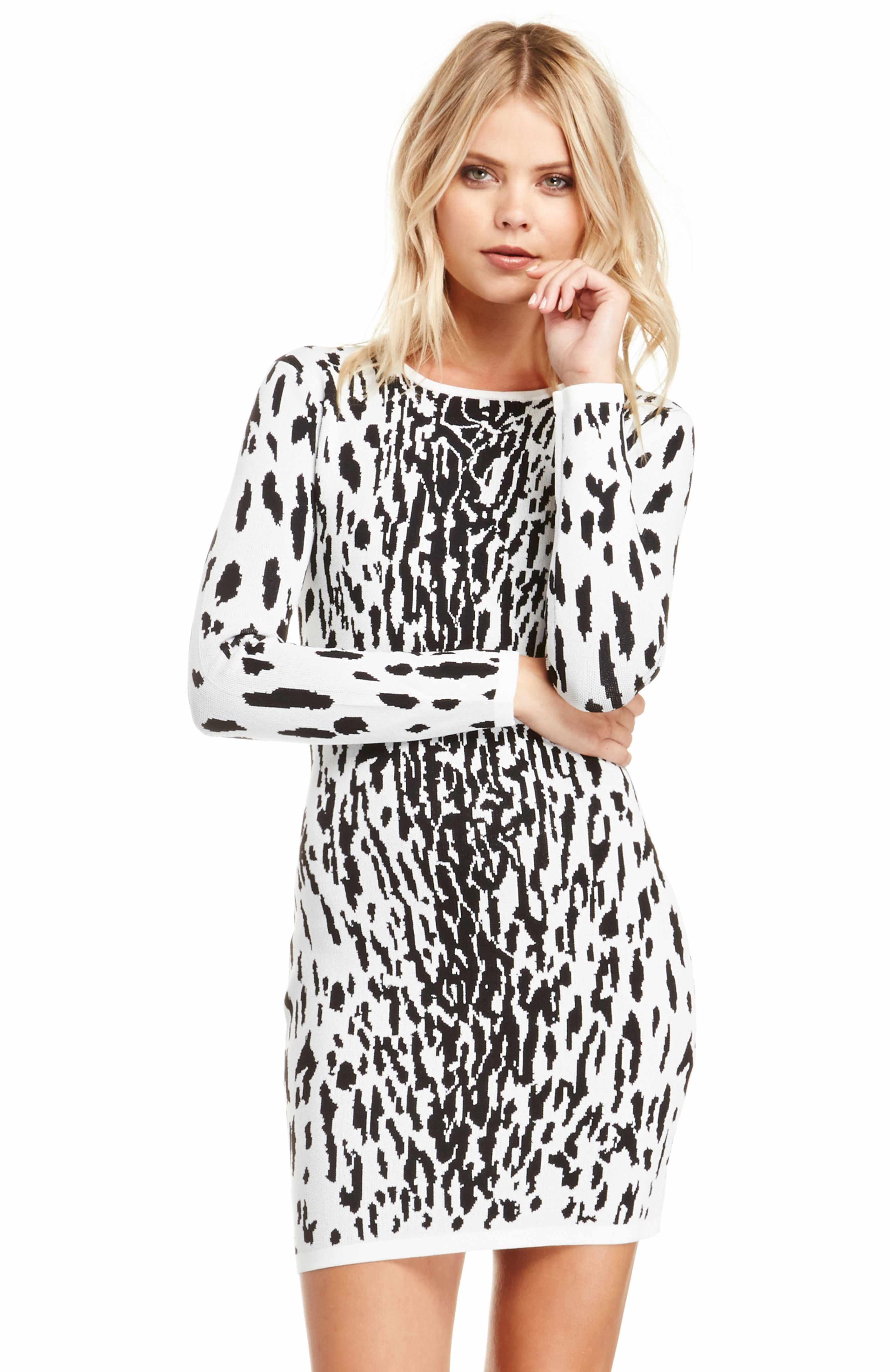 240fa13e527 BARDOT Snow Leopard Dress in Black White