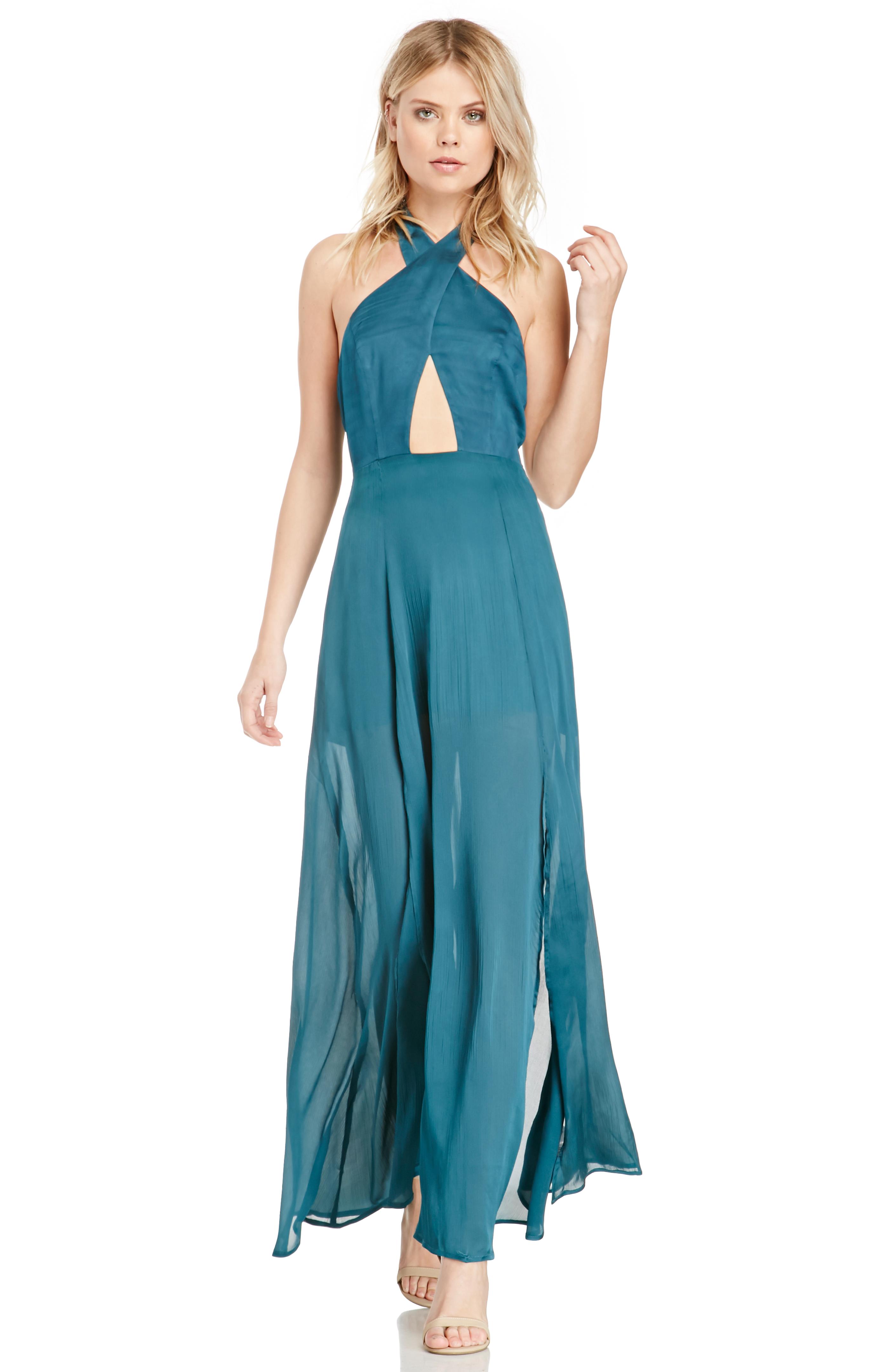 STYLESTALKER Queen Of The Night Maxi Dress in Teal | DAILYLOOK