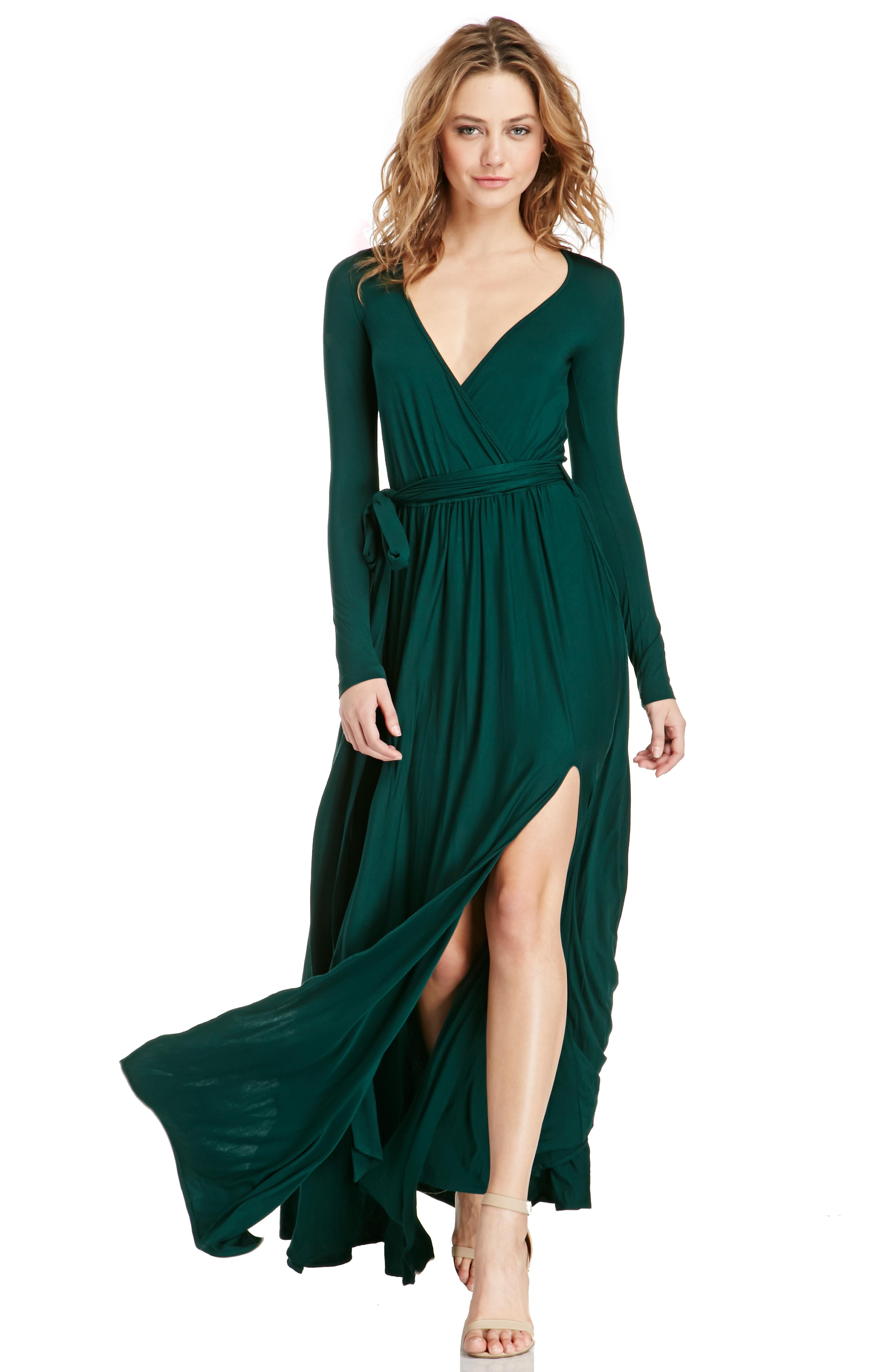 83f2781fe15f Vivian Jersey Knit Wrap Maxi Dress in Emerald | DAILYLOOK
