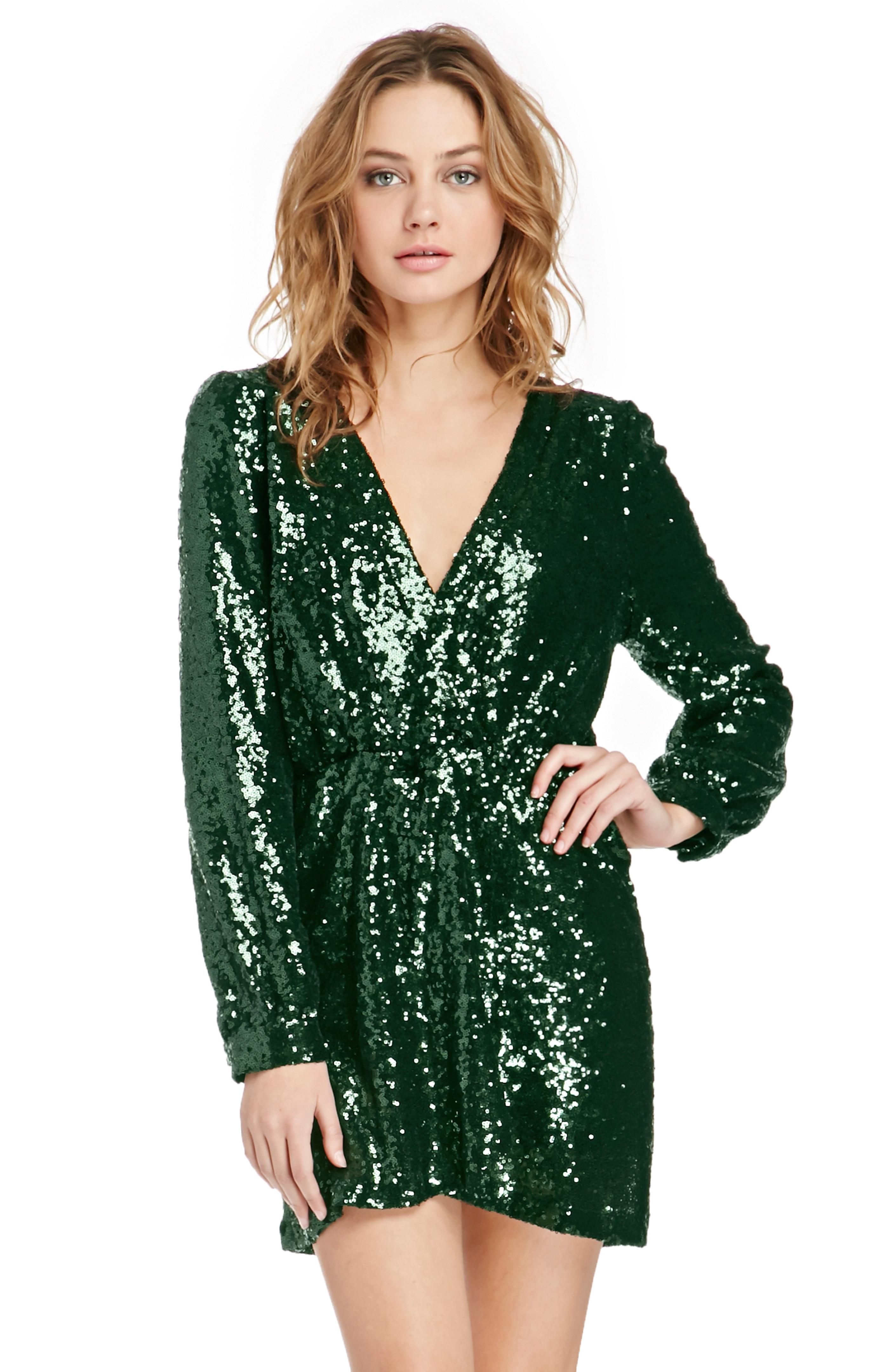 Katie Sequin Wrap Dress in Emerald  DAILYLOOK