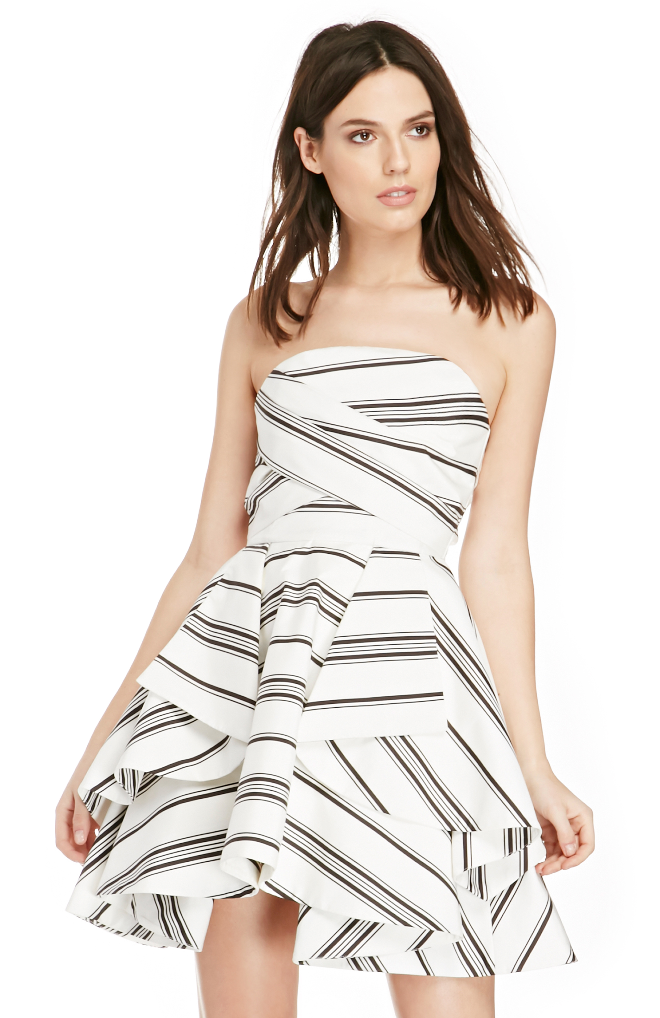 ea2055bbceaf7 Cameo Night Tale Striped Dress in Black/Ivory | DAILYLOOK