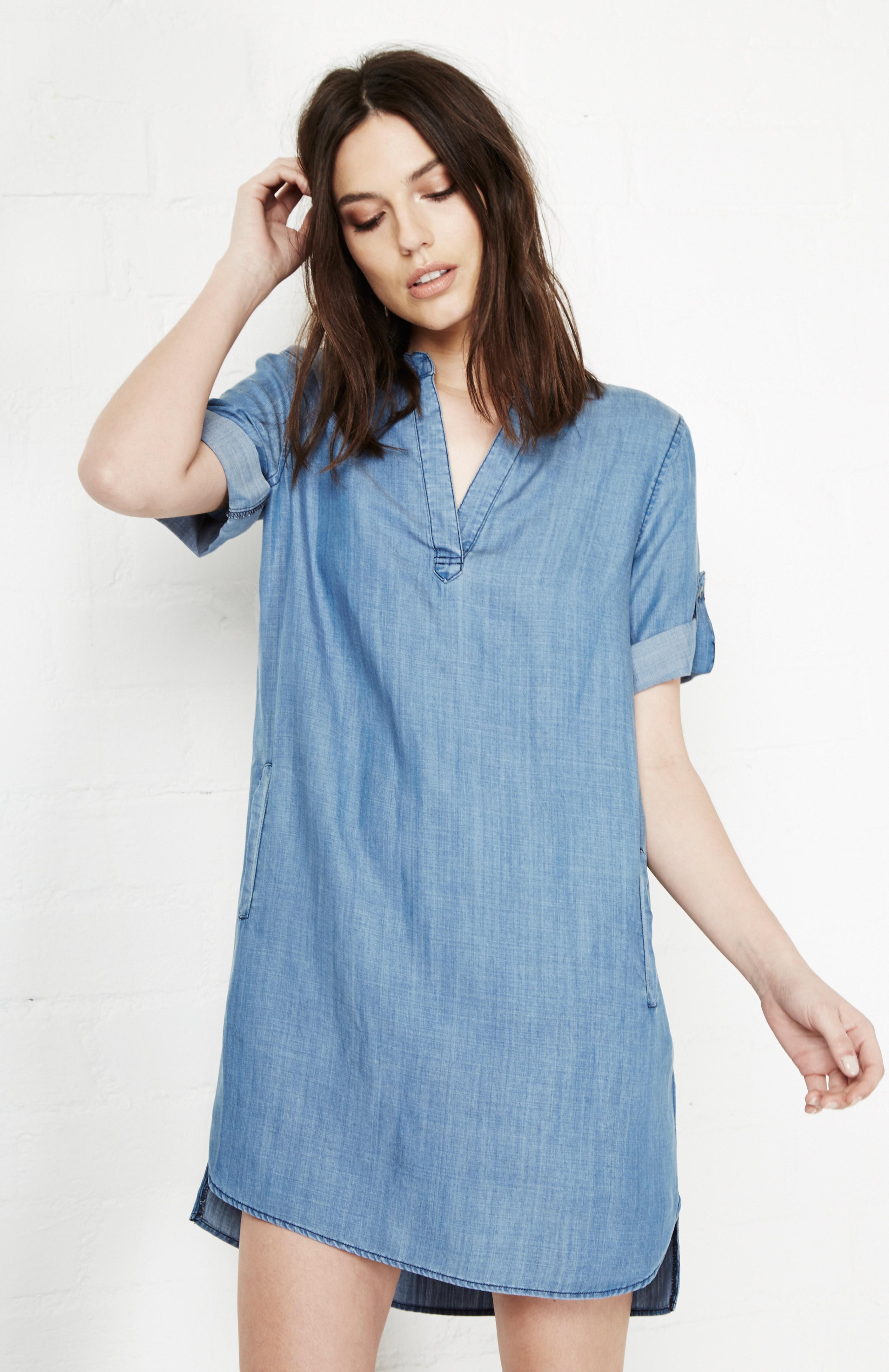 Velvet Heart Aisha Tencel Chambray Tunic Dress In Blue