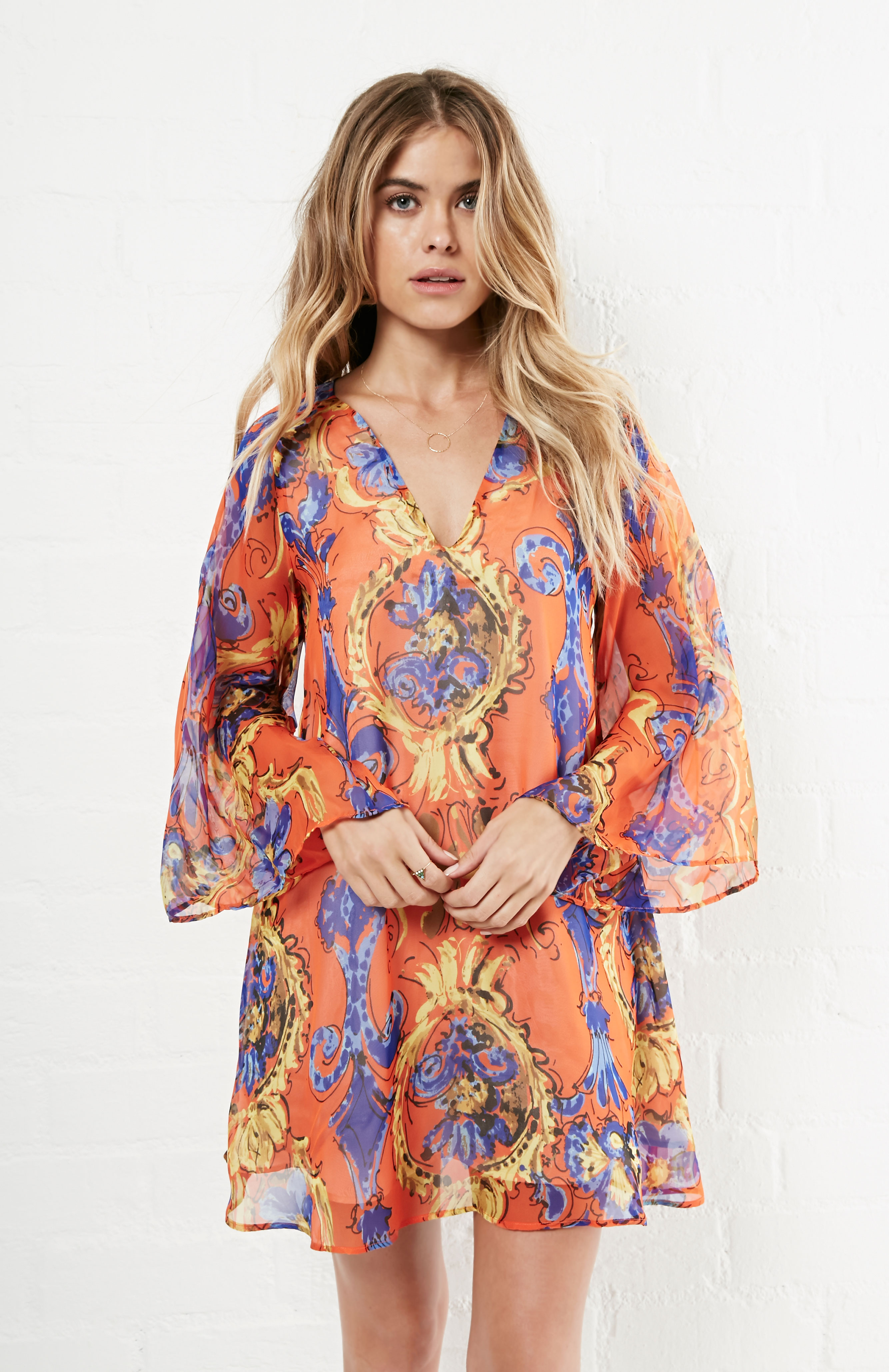 Lavender Brown Silk Long Sleeve V Neck Tunic Dress In
