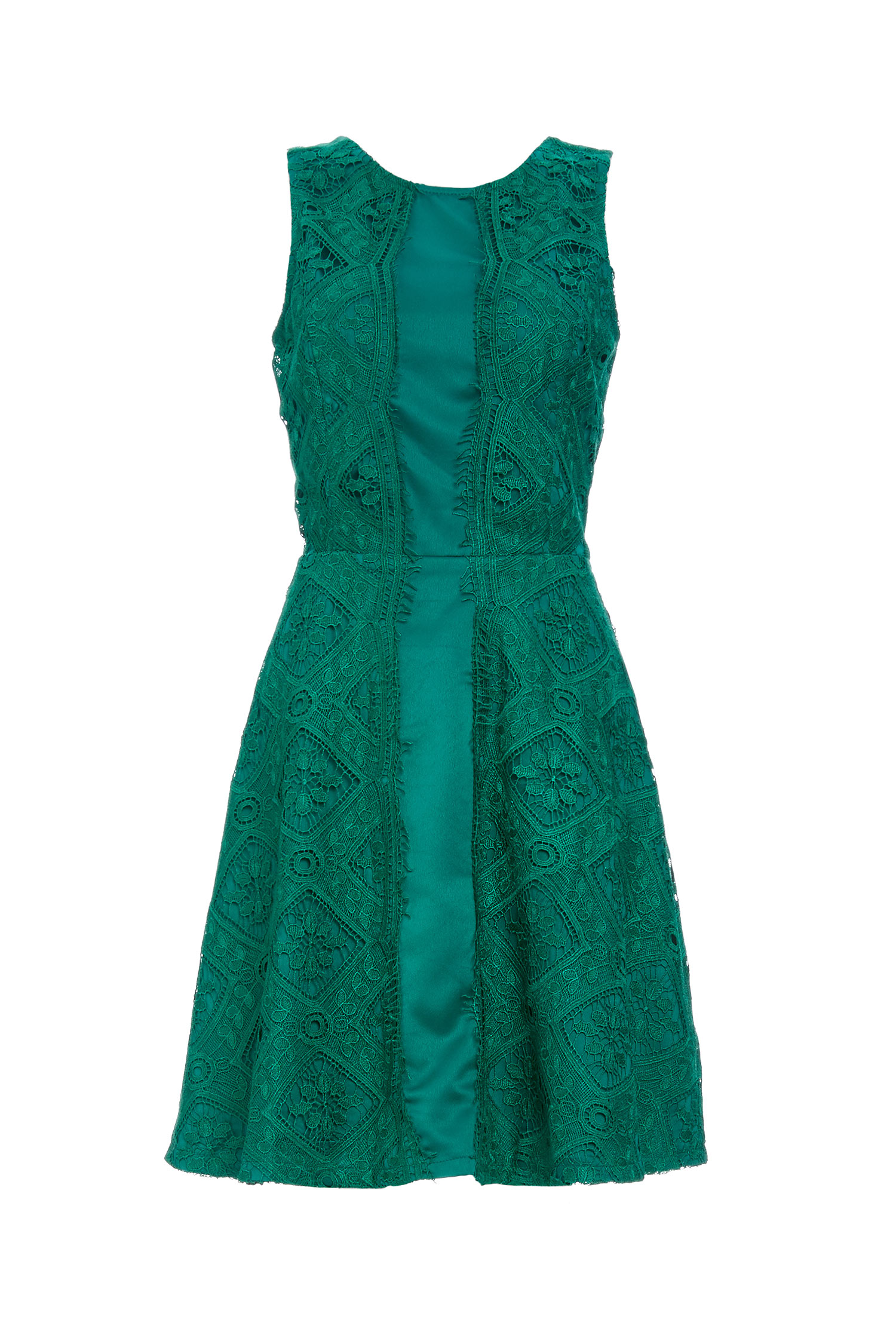 Adelyn Rae Lace Fit And Flare Dress In Green Xs S