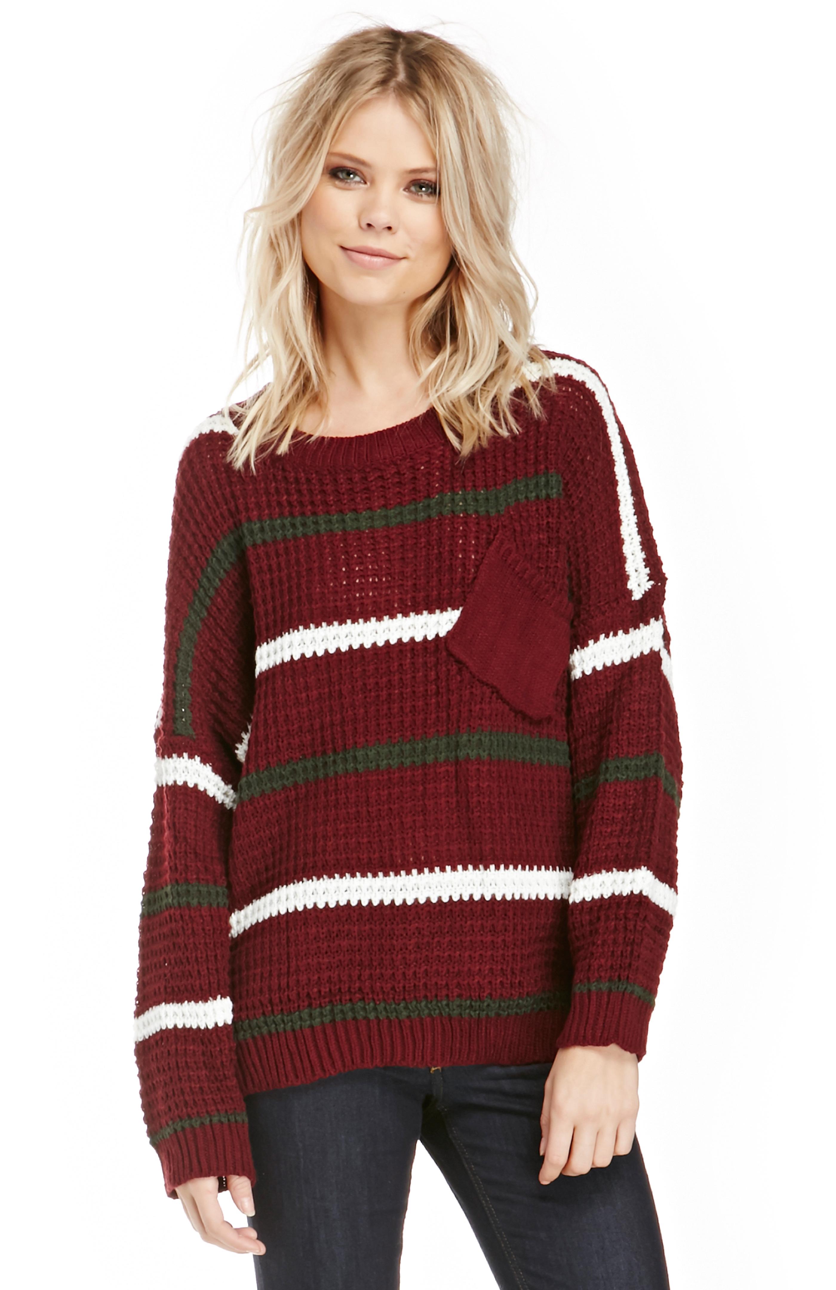 87e899f2a5219 Striped Knit Varsity Sweater in Burgundy