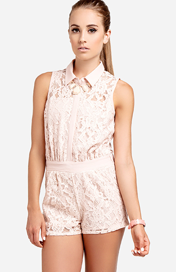 Collared Lace Romper Slide 1