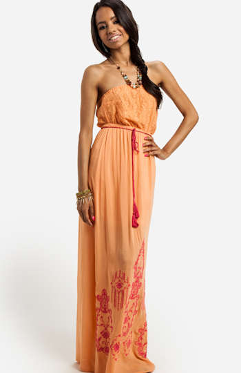 Strapless Embroidered Maxi Dress Slide 1
