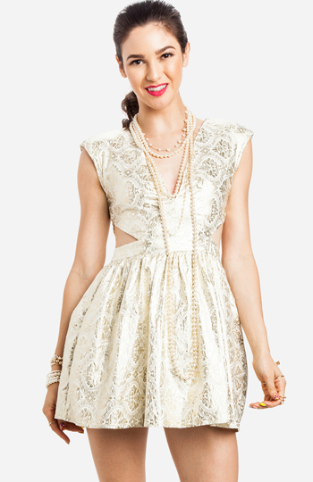 Foiled Filigree Cutout Dress In Gold Dailylook