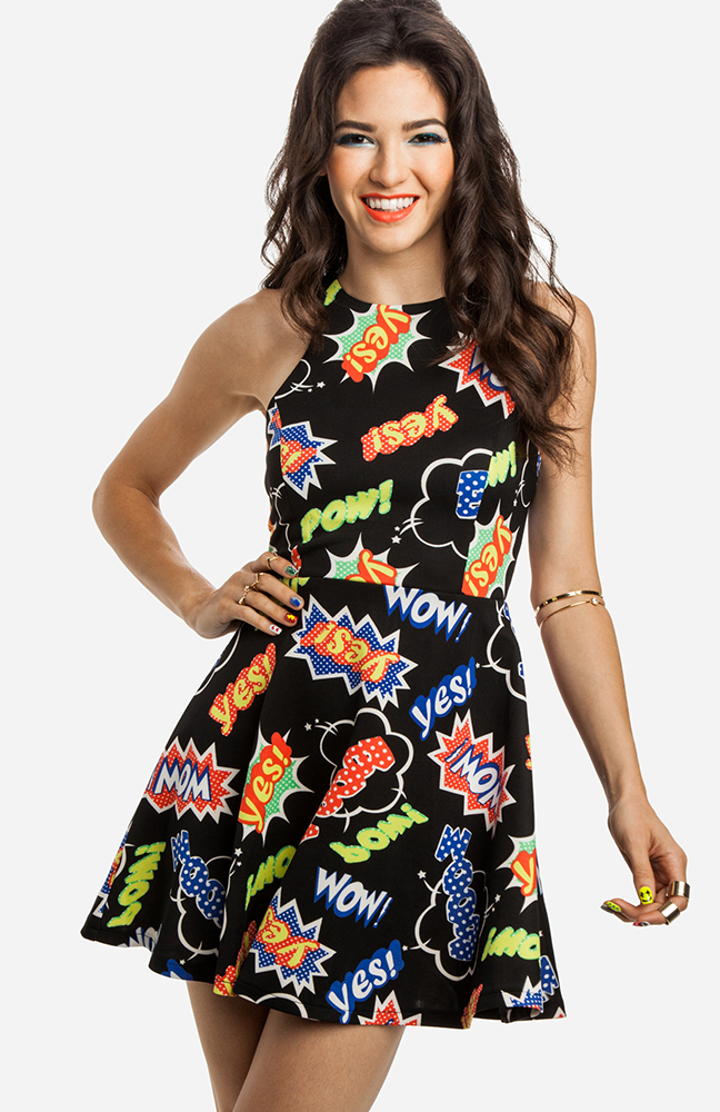 Pop Art Fit and Flare Dress in Black | DAILYLOOK