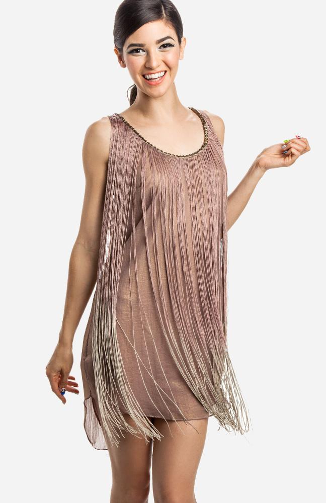 Studded Fringe Flapper Dress in Mauve   DAILYLOOK