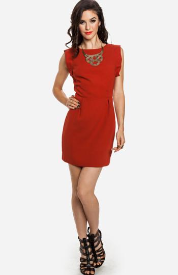 Line & Dot Deep V-Back Dress Slide 1