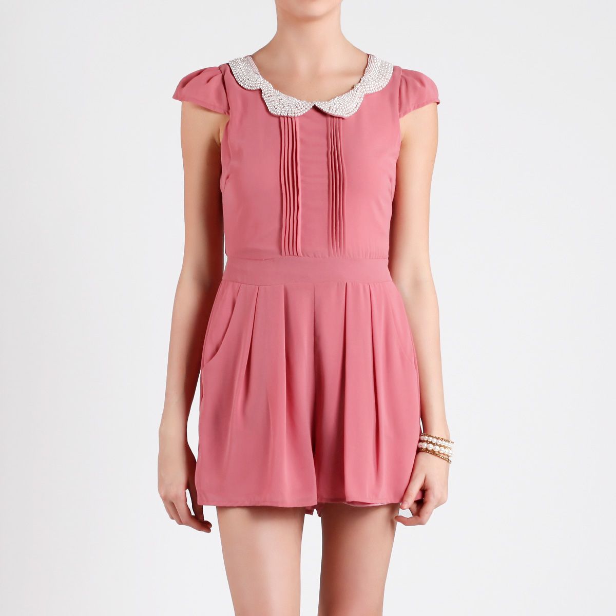 c298bb29e5d Peter Pan Beaded Collar Romper in Pink