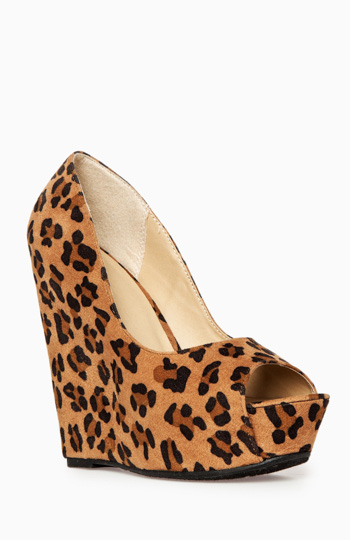 Peep Toe Platform Wedges Slide 1