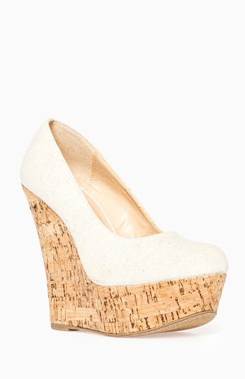 Linen Cork Wedges Slide 1