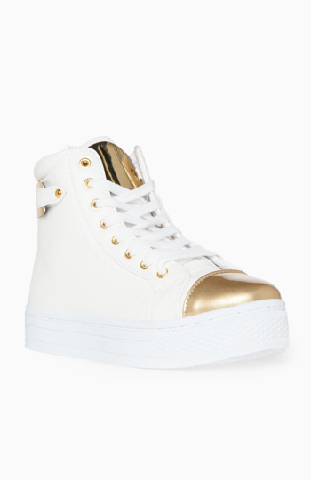 Gold-Toe Platform Sneakers in White