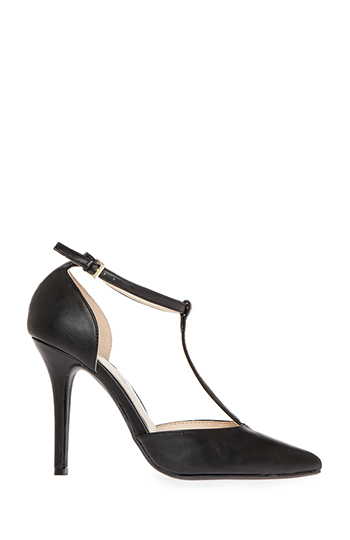 Pointed Toe T-Strap Heels Slide 1