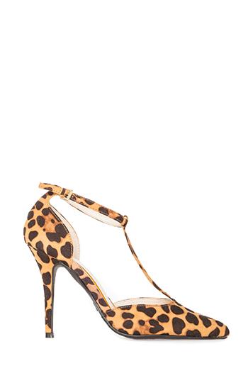 Pointed Toe T-Strap Heels Slide 1