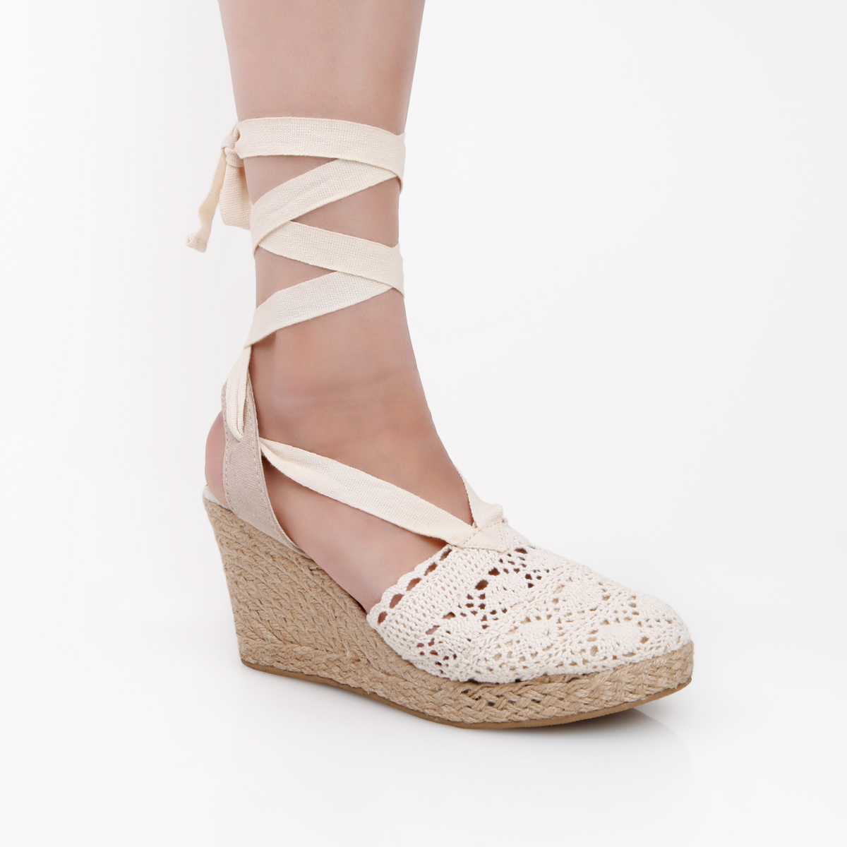 ankle tie espadrille wedges by soda