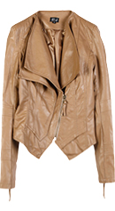 Double Collar Faux Leather Jacket