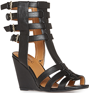 Buckled Gladiator Wedge Sandals