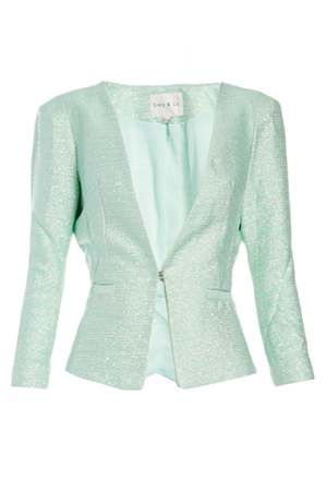 Lucy Paris Metallic Detail Tweed Blazer