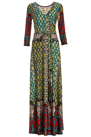 Colorful Mixed Print Maxi Dress