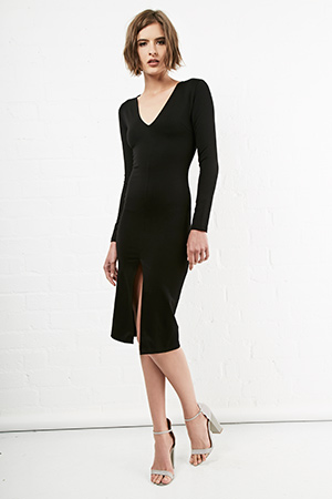 Long Sleeve Bodycon Midi Dress