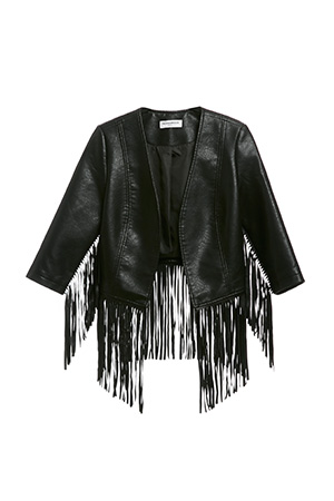 Glamorous Vegan Leather Fringe Jacket
