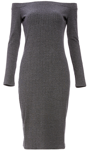 Cindy Ribbed Off Shoulder Knit Midi Dress