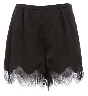 Lilian Lace Trim High Waist Satin Shorts