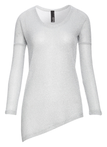 Bobi Mesh Lurex Asymmetric Knit Top