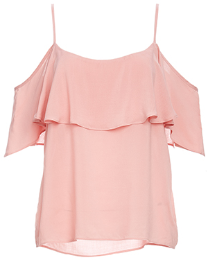 BB Dakota Ruffle Cold Shoulder Strap Top