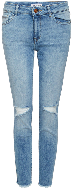 DL1961 Florence Instasculpt Distressed Cropped Jeans