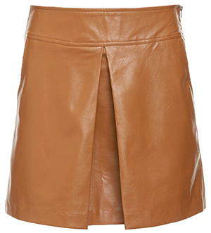 Milah Center Pleat Faux Leather Skirt